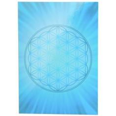 Aufkleber Postkarte blau Blume des Lebens