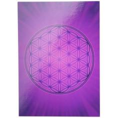 Aufkleber Postkarte violett Blume des Lebens