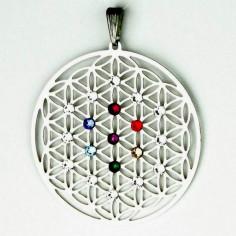 Edelstahl-Anhänger Chakra Blume des Lebens