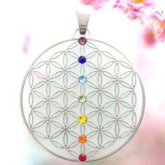 Edelstahl-Anhänger Chakra 7 Säule Blume des Lebens