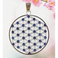 Edelstahl-Anhänger Meridian blue Blume des Lebens
