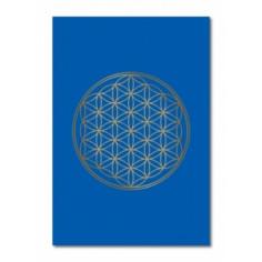 Klappkarte Blume des Lebens blau/glanzgold