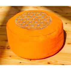 Meditationskissen orange Blume des Lebens