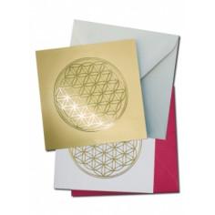 Mini- Doppelkarte mit Goldprägung Blume des Lebens