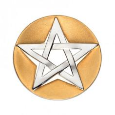 Pentagramm Anhänger Silber teilvergoldet