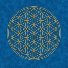 Poster Blume des Lebens blau