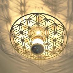 Taolight-Leuchte pur Edelstahl vergoldet Blume des Lebens