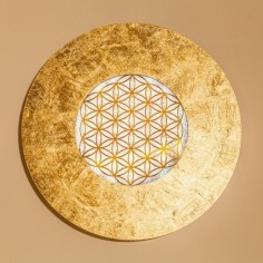 Wandleuchte Taolight Crystal blattvergoldet mit der Blume des Lebens