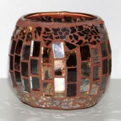 Windlicht Mosaik braun rund