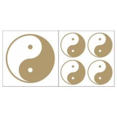 Yin Yang Aufkleber goldfarben