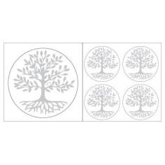 Baum des Lebens Aufkleber Silberfarben