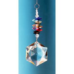 Regenbogenkristall Cascade bunt Hexagon