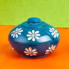 Blumen blau Specksteindöschen