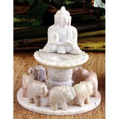 Elefantenkreis Buddha Specksteinräucherhalter