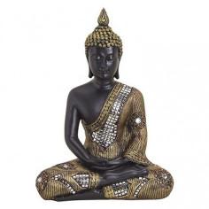 Buddha 27cm Polyresin schwarz-gold