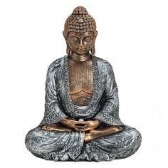 Buddha 23cm Polyresin silber-gold