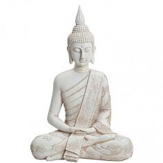 Buddha 40cm Polyresin weiss