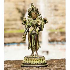 Grüne Tara 16cm Messing antik stehend
