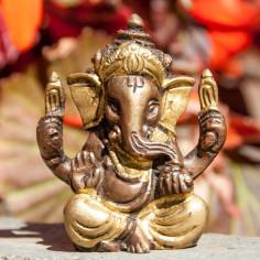 Ganesha 6cm Messing goldantik