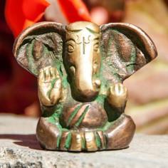 Ganesha 3cm Messing grün
