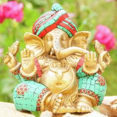 Ganesha 16cm Messing mit Steinen