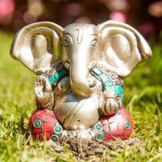 Ganesha 7cm Messing mit Steinen