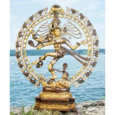 Shiva Nataraj 50cm Messing platiniert
