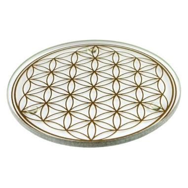 Glas-Untersetzer 8,9cm goldene Blume des Lebens