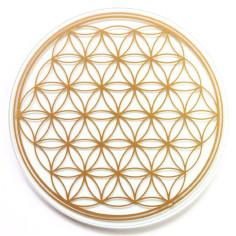 Glas-Untersetzer 19cm goldene Blume des Lebens
