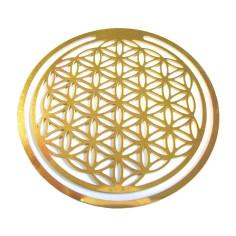 Lesezeichen Clip Edelstahl vergoldet Blume des Lebens