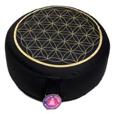 Blume des Lebens Meditationskissen schwarz/gold