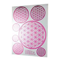 A4 pink Aufkleber Blume des Lebens
