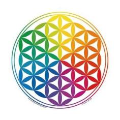 Regenbogen 11cm Aufkleber Blume des Lebens
