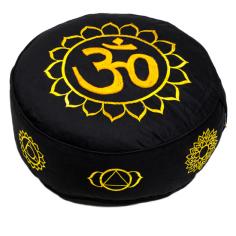 Meditationskissen 7 Chakren mit Om schwarz