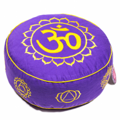 Meditationskissen 7 Chakren mit Om violett