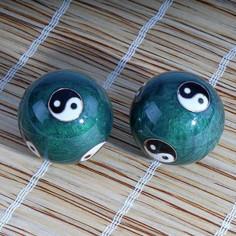 Qi Gong Kugeln 40mm Yin und Yang grün