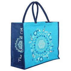 Jutetasche Blume des Lebens The Spirit of OM türkis-blau