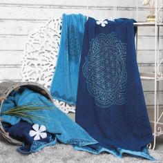 Lotus Liegetuch ozeanblau-azur Frottetuch