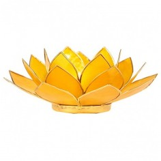 Teelichthalter Chakra Lotus gold gelb