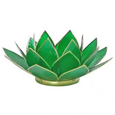 Teelichthalter Chakra Lotus gold grün