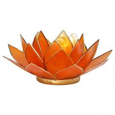 Teelichthalter Chakra Lotus gold orange