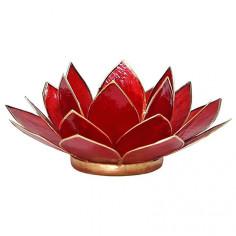 Teelichthalter Chakra Lotus gold rubinrot