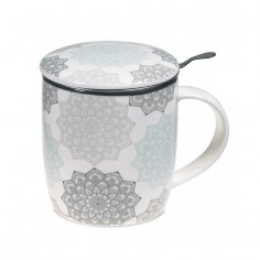 Teetasse Mandala grau Set