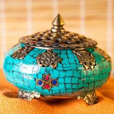 Ashank 8 Glückssymbole Räuchergefäss mit Steinen