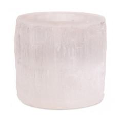 Selenit Teelichthalter Zylinder