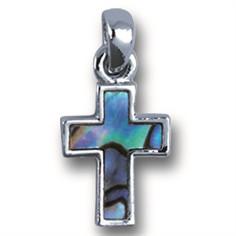 Anhänger Kreuz Paua-Muschel an Kette