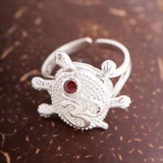 Schildkröte Ring mit OM und Rubin