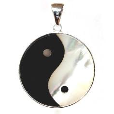 Yin Yang Anhänger Perlmutt Onyx 26 mm