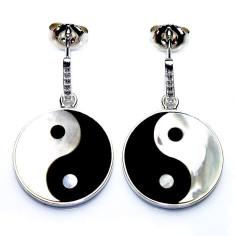 Yin Yang Ohr-Hänger Onyx Perlmutt