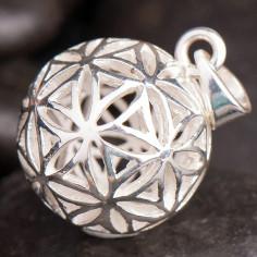 Anhänger-Kugel Blume des Lebens - Silber 17mm